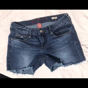 Arizona jeans cut into shorts and distressed